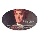 David Hume on Beauty Oval Sticker