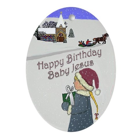 Happy Birthday Baby Jesus Ornament (Oval)
