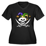 Mardi Gras Women's Plus Size V-Neck Dark T-Shirt