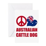 Peace Love Australian Cattle Dog Greeting Cards