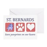 Saint Bernard Paw Prints Greeting Card