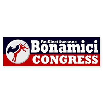 Re-Elect Suzanne Bonamici to the U.S. Conress (Oregon Congressional Campaign Bumper sticker featuring a kicking donkey)
