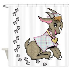 Cute Girl Goat Shower Curtain