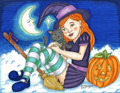 cute witch girl and her pet black cat