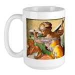 Words on Genius Michelangelo Large Mug